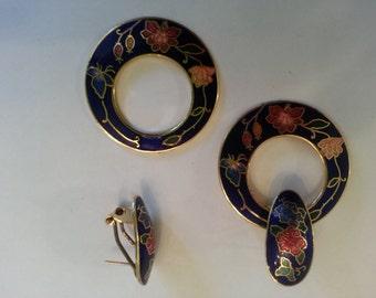 Vintage 1980's Costume Blue Floral Motif Cloissone Earrings