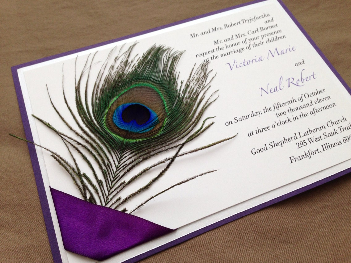 Peacock feather invitation template - photo#17