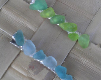 Genuine Maui seaglass and sand alligator style hair clips