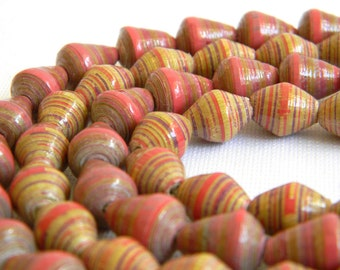 Paper Beads - Hand Painted - Fair Trade - Paper Bead Jewelry Supplies - Lot of 64