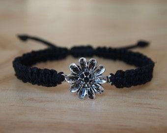Daisy / Sunflower Pendant Adjustable Braided Black Hemp Bracelet