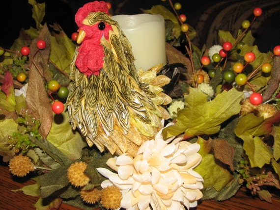 Sale fall autumn rooster centerpiece battery pillar candle