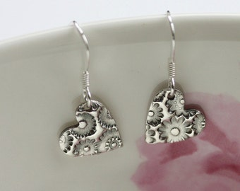 Silver heart earrings, Heart Earrings, Flower Earrings, Silver heart, Small silver earrings, Simple silver earrings, Silver jewelry