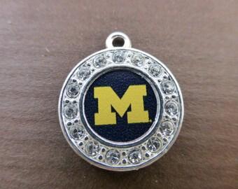 University of Michigan Wolverines Rhinestone Charm