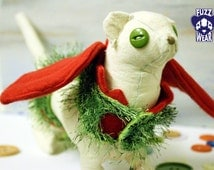 Made to Order XXXSmall Pet / Ferret / Guinea Pig / Hoodie Harness - Fuzzy Green Monster