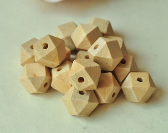 20pcs 12mm Unfinished Natural Wood Bead 14 Hedron Geometric Figure Solid Faceted Cube Wooden Bead Octagonal MT443
