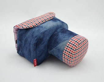 Custom DSLR Camera Case Bag, Solid Mixes with Check, Made to Order