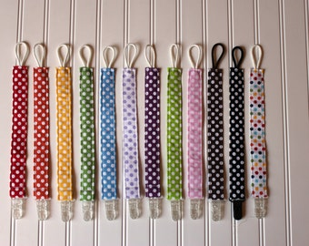 Gender Neutral Pacifier or Toy Clip - Soothie Pacifier Clip with plastic clip - Mam Gumdrop Nuk Avent Soothie Binky Clip