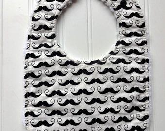 Boy Bib Baby/Toddler Bib - Boutique Quality - Triple Layer Chenille - Adjustable - Riley Blake Geekly Chic Mustache Baby Bib