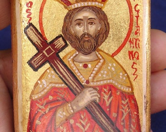 miniature Saint Konstantinos. hand painted greek .,saints icons.christian .gift. religious  st.Konstantinos