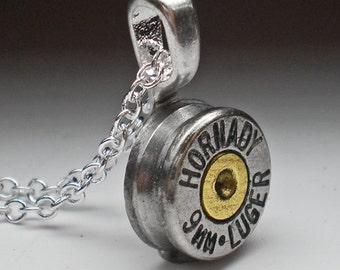 9mm Hornady Nickel Bullet Head Pendant Necklace Steampunk Bullet Jewelry