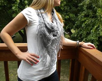 Crocheted fringe infinity scarf