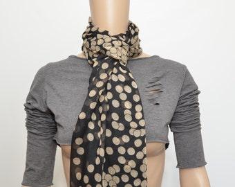 Black shawl / scarf with white polka dot