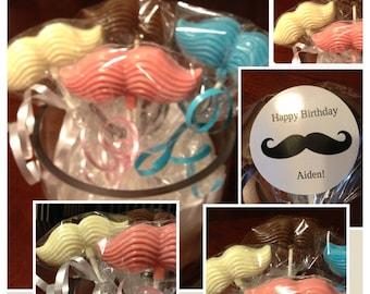 Set of 15 custom Mustache Chocolate Lollipops bouquet