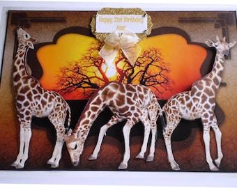 Handmade Giraffe Decoupage Birthday Card