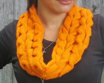 women scarf Orange knitting Fashion Scarf, women winter scarf, winter accessories, women orange scarf