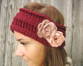 Crochet Headband Flower Earwarmer Head Wrap Red Hat Girly Romantic, woman winter hair accessory, Valentines day gift