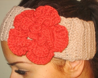 Women headband  girl headband brown Crochet Headband Flower  Earwarmer Head Wrap Light Brown Red Flower Hat Girly Romantic