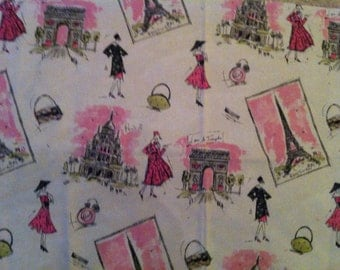 Tres Chic Paris Fashion Models Eiffel Tower print in pink and black on cream upholstery grade