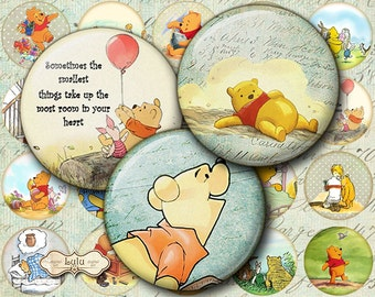 Winnie the Pooh - Digital Images - 1 Inch - Circle Images - Round Images - Printable - Bottlecap - Digital Collage Sheet