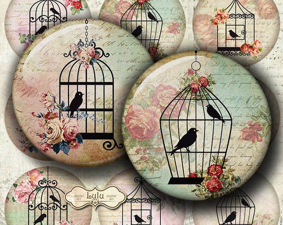 Vintage bird cages digital images 2 inch circle round for Espejos de madera vintage