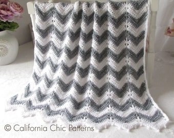 Crochet PATTERN 55 - Crochet Baby Blanket Pattern - Chevron Series - Instant Download PDF Pattern
