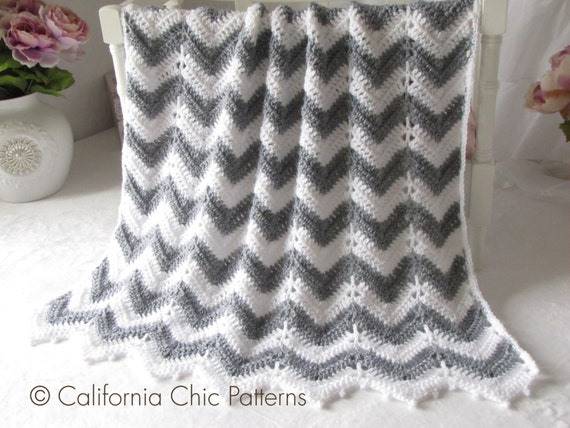 Free Crochet Pattern Baby Blanket Chevron : Crochet Baby Blanket PATTERN 55 Chevron by CaliChicPatterns