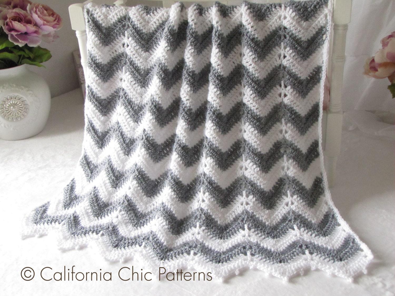 Crochet PATTERN 55 Crochet Baby Blanket Pattern Chevron