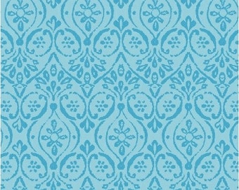 SUPER CLEARANCE! - One Yard Two By Two - Damask in Blue - Cotton Quilt Fabric - by Whistler Studios  - Windham Fabrics - 33576-2 (W298)