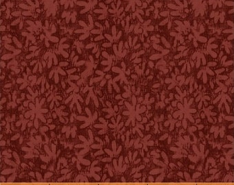 SUPER CLEARANCE! One Yard Mono Leaf in Red - Crazy For Shelburne Cotton Quilt Fabric - Windham Fabrics (W465)