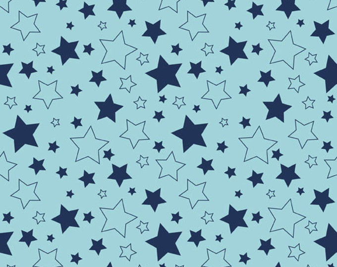 One Yard Cotton Stars in Navy - Cotton Quilt Fabric - RBD Designers for Riley Blake Designs (W778)