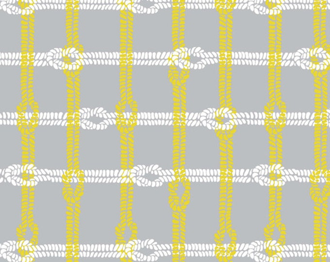 SUPER CLEARANCE!! One Yard Maritime Modern - Knotty Plaid in Gray - Cotton Quilt Fabric - by Marin Sutton for Riley Blake Designs (W806)