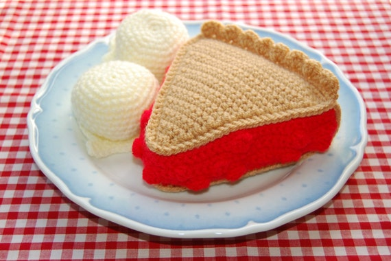 Crochet Pattern for A Slice of Cherry Pie / Cake & Vanilla Ice Cream - Crocheted Play Food