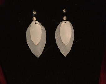 """1 1/2"""" Upcycled dual """"feather"""" dangle earrings"""
