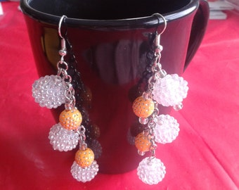 Peach & White Plastic Bead Earrings
