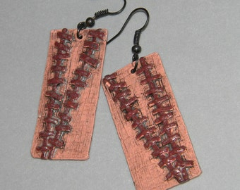Earrings Distressed Boho Polymer Clay Mid Century Modern Jewelry Women Casual Dangles STITCH TOO by ArtCirque Donna Pellegata