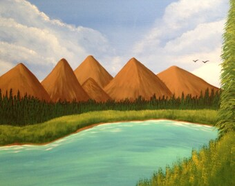 Lakeside mountain painting,20x24x.75.mountain painting,pine tree painting,landscape painting,acrylic painting,canvas art