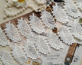 Ivory Lace Trim, Leaf Appliques, White Venice Lace, Embroidered Leaves Lace Fabric