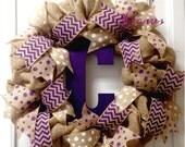 Burlap wreath, TCU wreath, Purple Wreath, Purple Initial