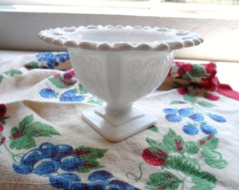 MILK GLASS Pedestal Scalloped Edge Compote, Bowl, Candy-Nut Dish-Old Creamy WhiTe Glassware-Old Milk Glass- Fancy Art Glass- Delicate-Lovely