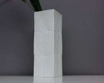 Rosenthal Studio Line bisque vase / Op-Art / white porcelain large square / Martin Freyer Design Germany / vintage 60s 70s / gift / decor