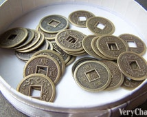 50 pcs of Antiqued Bronze Traditional Chinese Qing Dynasty Coin Charms 19mm A532