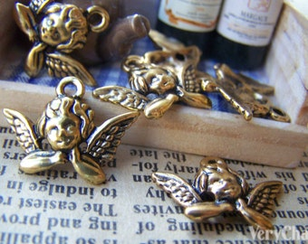 20 pcs of Antique Gold Lovely Angel Charms 11x20mm A1542
