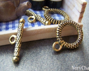 20 sets of Antique Gold Thick Coiled Toggle Clasps 15mm A1258