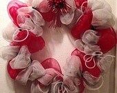Christmas wreath. Red and silver deco mesh with a beautiful bow, Cyber Monday Sale