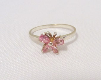 Vintage Sterling Silver Pink Topaz Butterfly Ring Size 8.75