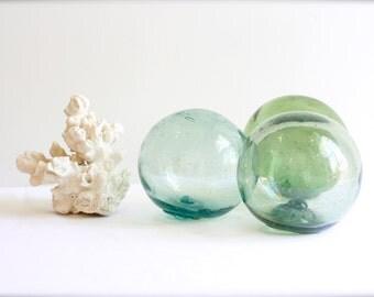 "Glass floats / glass buoys set of 3 x 4"" floats"
