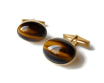 14k Gold and Tiger Eye Cuff Links
