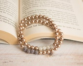 Bronze Pearl & White Crystal Epoxy Clay Bracelet, Elastic Stacking Bracelet - MYGDesigns