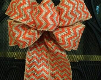 BURLAP CHEVRON Orange, Chevron Bow, Wreath Bow, Fall Bow, Halloween Decoration